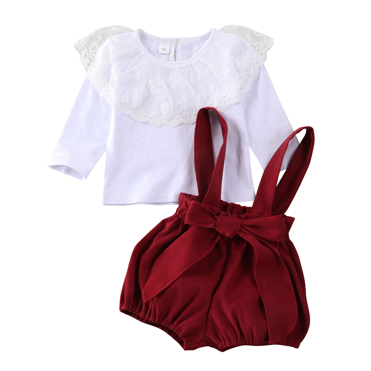 UK Toddler Baby Girls Kid Lace Lotus Leaf Tops Strap Shorts Overalls Clothes Set