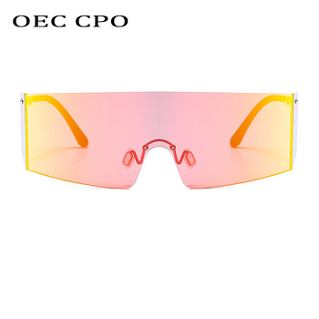 OEC CPO Fashion Rimless Sunglasses Women Men Big Flat Top Glasses Oversized Female Mirror Goggle UV400 O596
