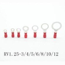 50 шт. красный RV1.25-3 4 5 6 8 10 12 кольцо изолированный провод разъем Электрический обжимной клеммный кабель провода соединитель AWG