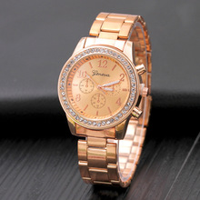 Fashion Geneva Women Watches Luxury Rose Gold Stainless Steel Quartz Crystal dames horloge
