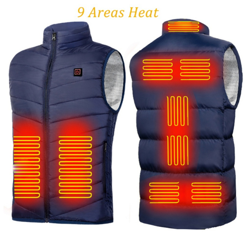 9 Areas Vest Jacket USB Men Winter Electric Heated Sleeveless Jacket Outdoor Sports