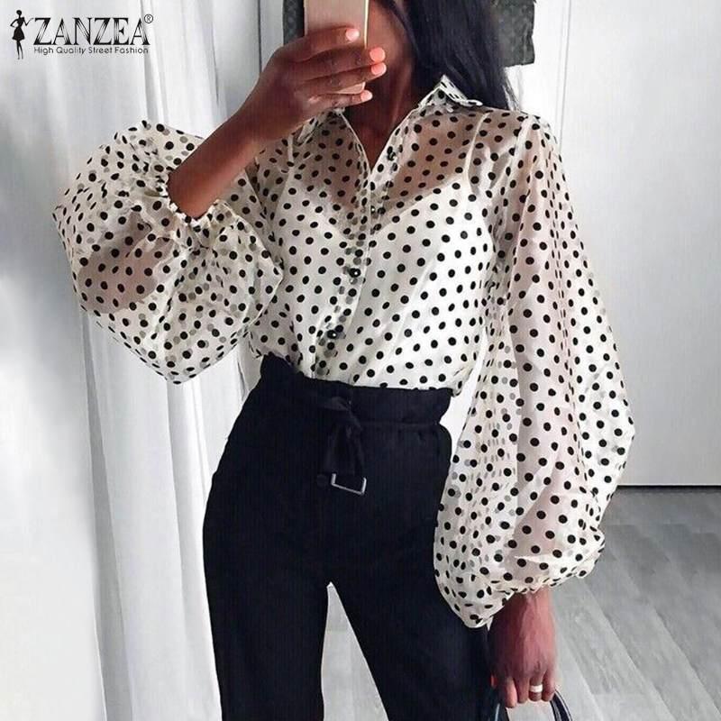 ZANZEA Fashion Women Polka Dot Blouse Sexy Mesh Tops Summer Long Puff Sleeve Buttons Blusas Robe Femme See Through Party Shirt
