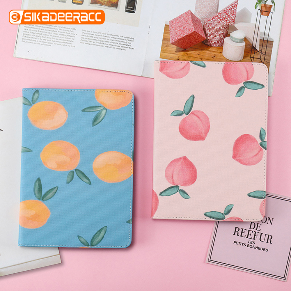 Cute Peach Magnet Flip Cover Cases For iPad Mini 1 2 3 4 5 2017 2018 New Air 1 2 A1893 A1823 Auto Sleep Full Protection Painting
