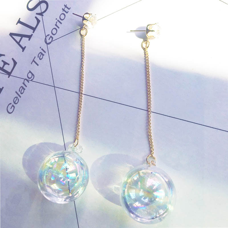 Pendientes colgantes largos de bola de cristal transparente para mujer, aretes coreanos con borlas de cristal, accesorio de joyería de boda a la moda