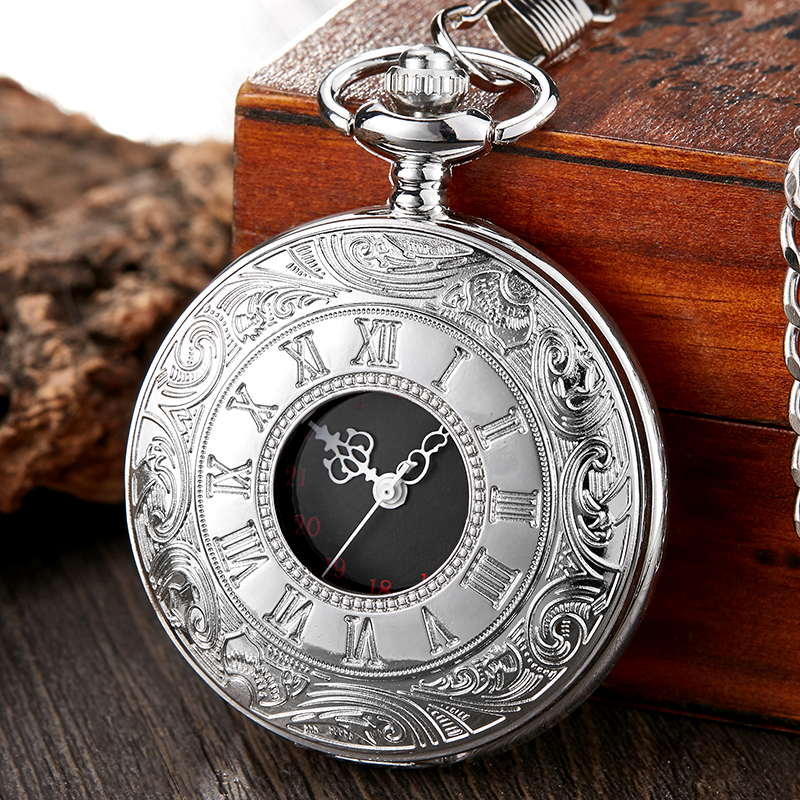 Retro Silver Steampunk Roman Numeral Pocket Watch Men Chain Necklace Pendant Gifts For Women Hollow Skeleton Quartz Pocket Watch