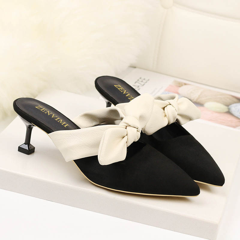 Women Pumps Slip on Bow knot Med Heel Shoes Black Casual 2019 Pointed Toe Cat heels Ladies Shoes New Summer Sexy Woman in Women 39 s Pumps from Shoes