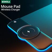 Bonola Wireless Charging Mouse Pad 10W/7.5W Oversized RGB Luminous Desk Mat Computer Laptop Mousepad Play Mat with Backlit