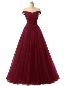 Image 5 - Angelsbridep Short Sleeve Tulle Long Evening Dress 2020 Strapless Pleat Womens Dress Vestidos De Festa Formal Party Gown Lace up