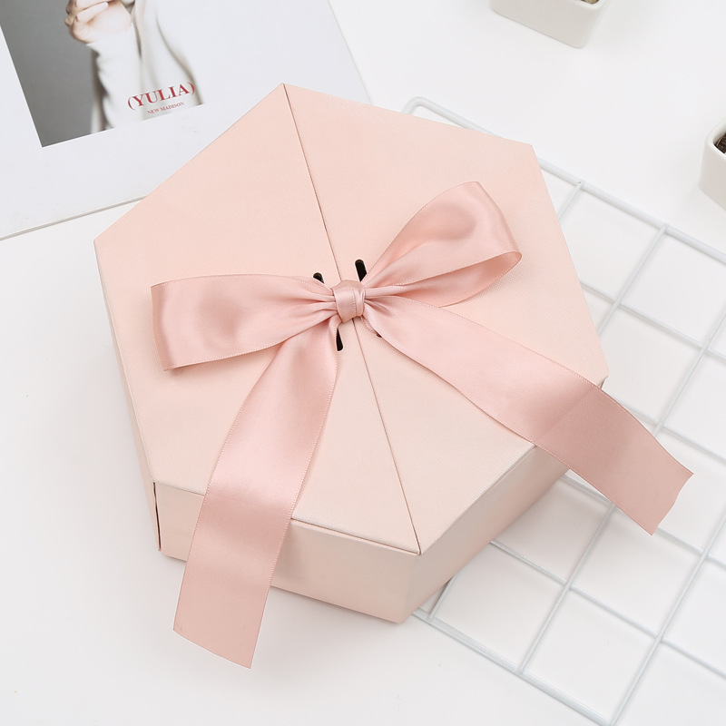 Birthday Gift Box Hexagon Upscale Gift Box Party Valentine's Day Sweet Knot Wedding Box Candy Cookie Storage Box  Packaging