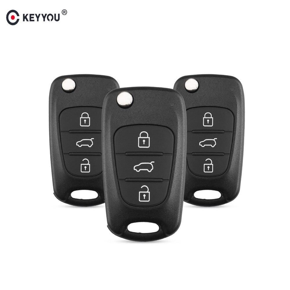 KEYYOU 3 boutons rabat pliant à distance voiture clé coque housse pour Hyundai Avante I30 IX35 Kia K2 K5 Sorento Sportage
