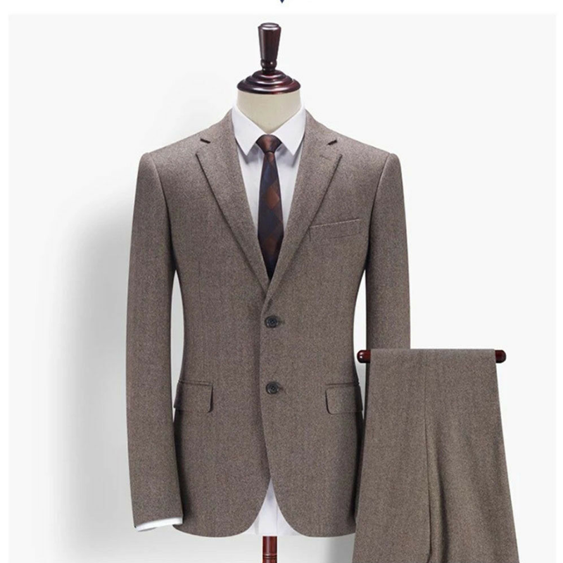 2020 Men's Light Brown Wool Blend Herringbone 2 Pieces Notch Lapel Two Button Suits Vintage Tuxedos Regular 38 40+