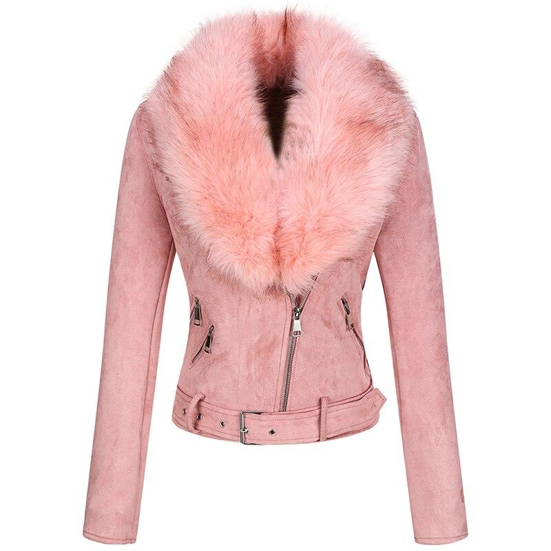 Giolshon 2021 New Winter Women Thick Warm Faux Suede Jacket Coat With Belt Detachable Faux Fur Innrech Market.com