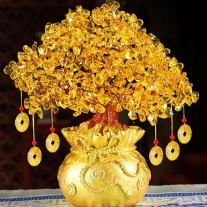 Image 3 - 19cm Lucky Tree Wealth Yellow Crystal Tree Natural Lucky Tree Money Tree Ornaments Bonsai Style Wealth Luck Feng Shui Ornaments