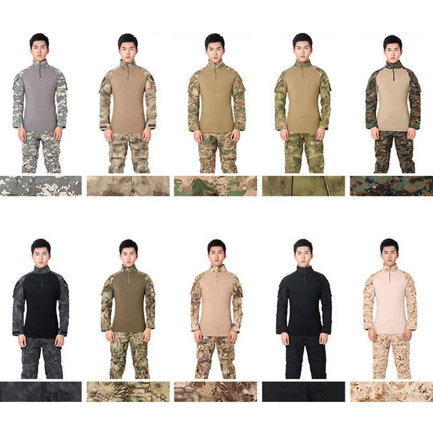 Мужской армейский костюм США, Тактическая Военная форма, камуфляжная, ACU, немецкая, пустынная, боевая, охотничья одежда, полный рукав, страйкбол, рубашка, топы