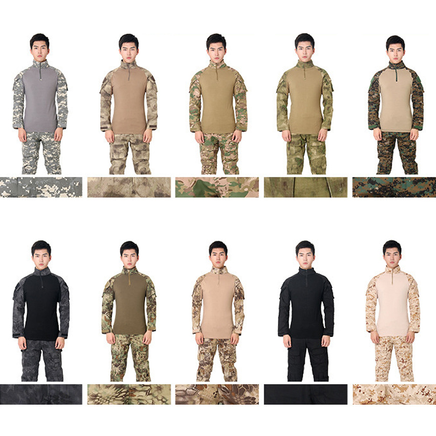Men US Army Suit Tactical Military Uniform Camouflage ACU German Desert Combat Hunting Clothing Full Sleeve Airsoft Shirt Tops
