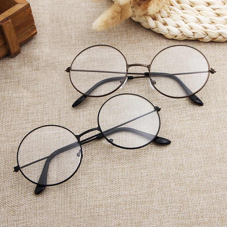 Óculos redondos armação homem/mulher limpar óculos falsos óculos redondos óculos de olho quadros para mulher/homem