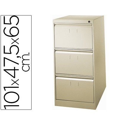 FILE DRAWER SOIL 'S METALLIC DE 3 DRAWER 101 HIGH, 65 PROF 47,5 WIDTH BEIGE N34 ROLL