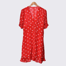 Red Color Women's Dot Printed Short Dress Short Puff Sleeved