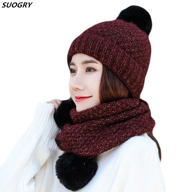 Thick Scarf Hat Set Women Winter Warm Knitted Beanie and Ladies Windproof Accessories