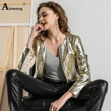 Aimsnug Motorcycle PU Leather Jacket Women Winter And Autumn New Fashion Coat Gold Zipper Outerwear jacket 2019