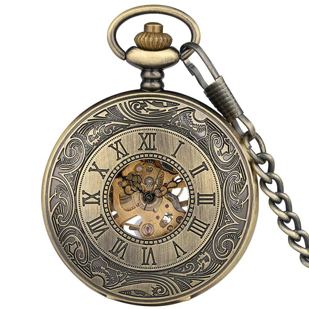 Traditional Retro Pocket Watch Bronze Hollow-out Roman Number Case Clock With Skeleton Mechanical Necklace Chain Taschenuhr