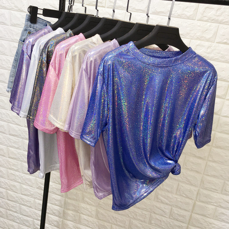 YAYEYOU Summer Women Casual Bright Silk O-Neck Solid Shiny Loose Short Sleeve T-shirt 5 Colors Tops Club Harajuku Tshirt