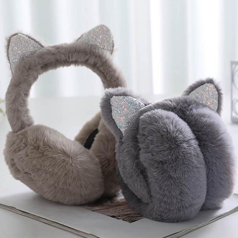 Calymel Women Fluffy Earmuffs Winter Warm Soft Plush Earmuffs Unisex New Cute Earmuffs Xmas Gifts Fur Headphones
