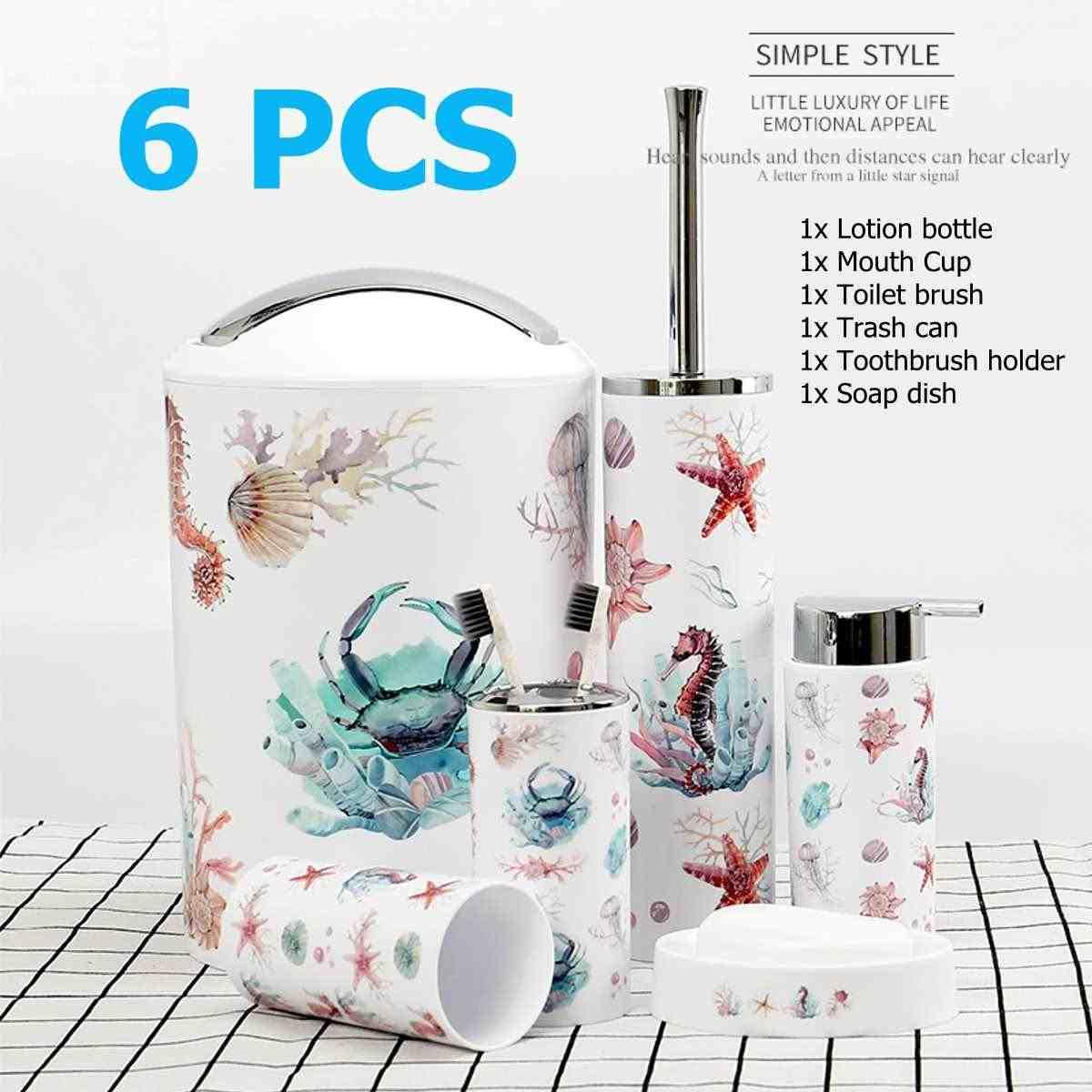 6 sztuk zestaw akcesoriów łazienkowych do mycia narzędzi butelka płyn do płukania ust kubek mydła na szczoteczki do zębów kosz na śmieci szczotka do wc artykuły gospodarstwa domowego