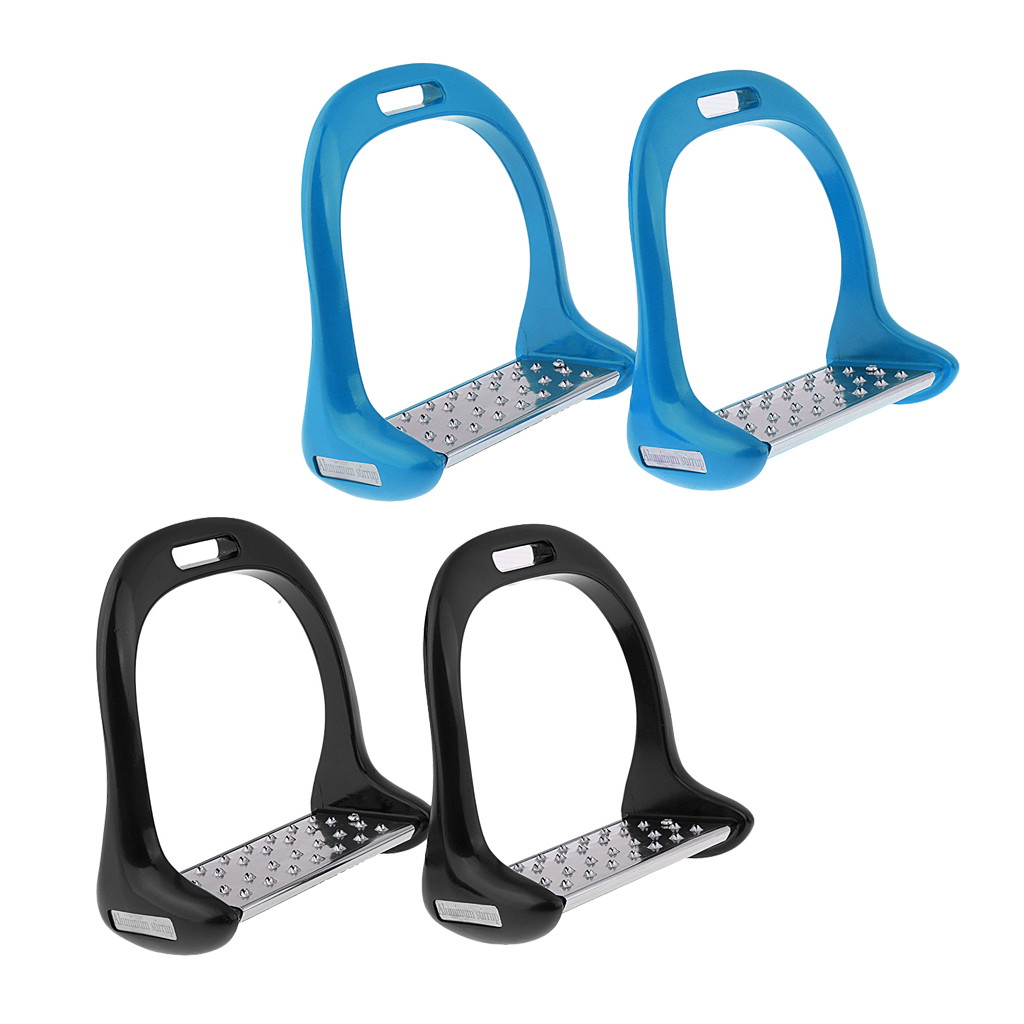 2 Pair Equestrian Sports Horse Riding Stirrups Wide Track Stirrups With Non Slip Treads