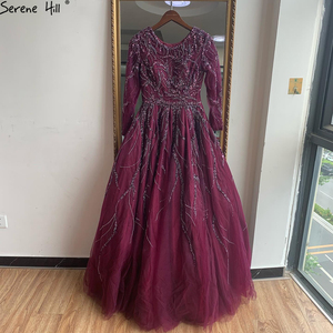 Image 5 - Serene Hill Dubai Design Wine Red A Line Evening Dress One Shoulder Sexy Luxury Formal Party Gown 2020 CLA60988