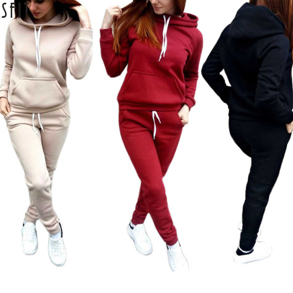 SFIT 2 Piece Set Women Hoodies Pant Clothing Set Warm Newest Clothes Ladies Solid Tracksuit Women Set Top Pants Suit Female