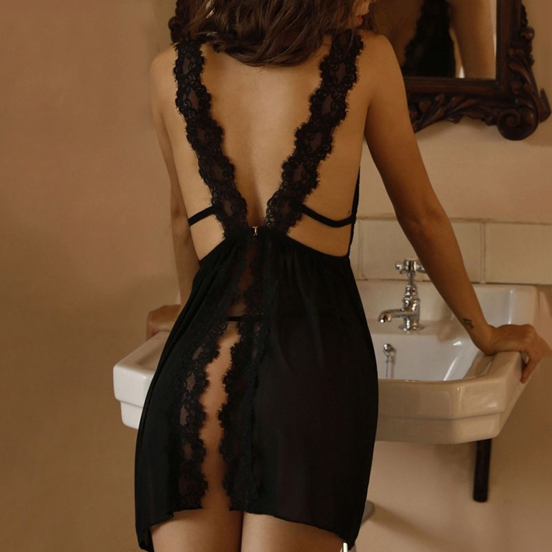 Female Lace Sexy Nightgown Women Sleepwear V Neck Sleeveless Backless Night Dress Woman Mini Sexy Lingerie For Women Nightie