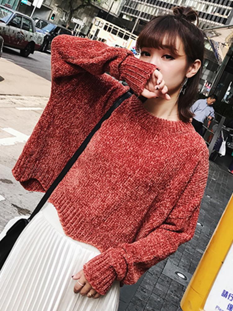 Autumn Winter New Woman Velvet Sweater Long-sleeve O-neck Burgundy Casual Knitted Pullover Jumper Female 2019