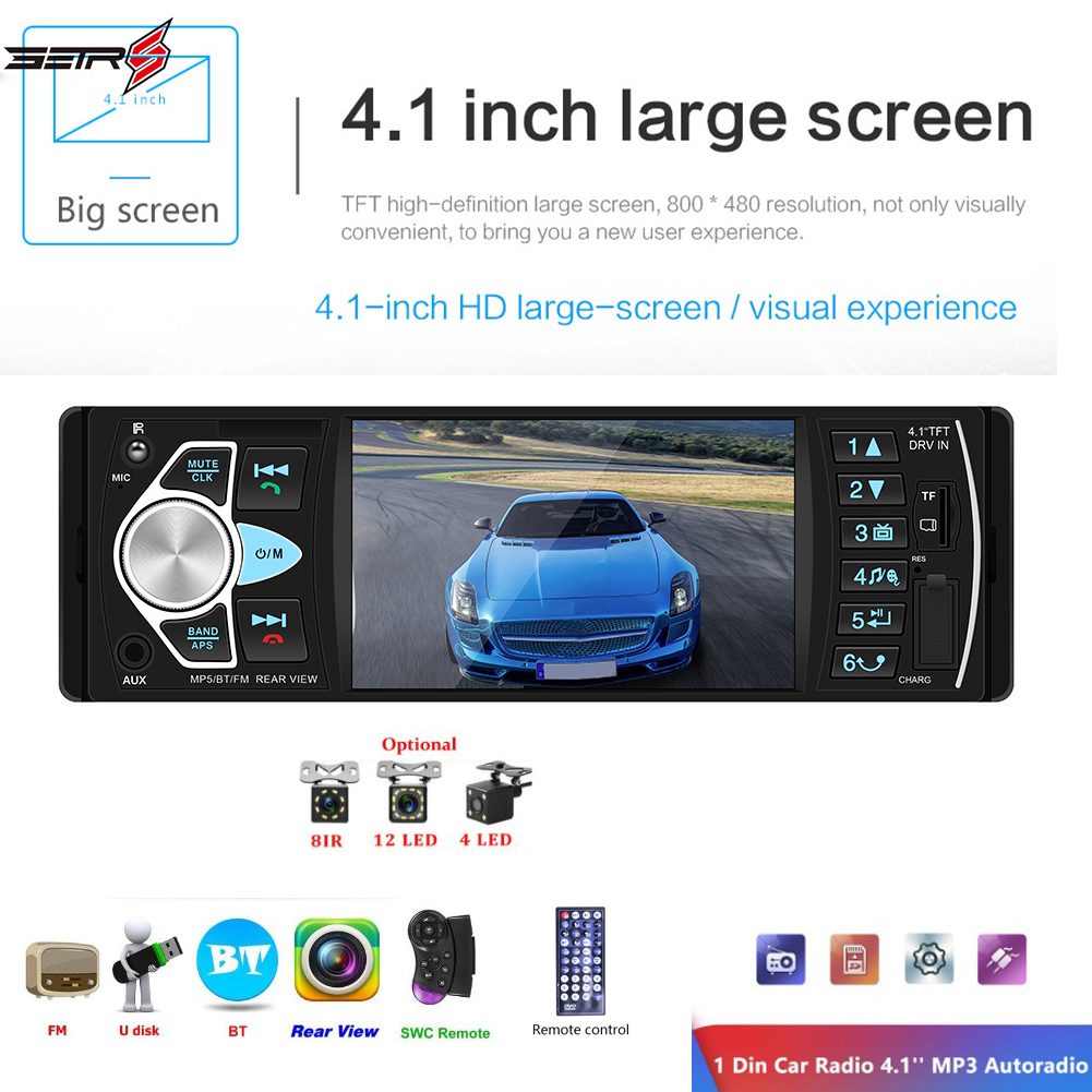 4022D Car Stereo MP5 Player Bluetooth USB TF Card AUX Radio In Dash Receiver Supporting Reversing Image and Video Output image