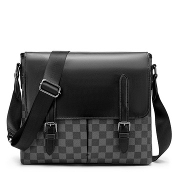 Men Crossbody Shoulder Bag Pu Leather Messenger Bags Classic Design Lattice Pattern Business Ipad Pack Travel Sling Shoulder Bag bullcaptain 019 genuine leather bag men chest pack travel brand design sling bag business shoulder crossbody bags for men