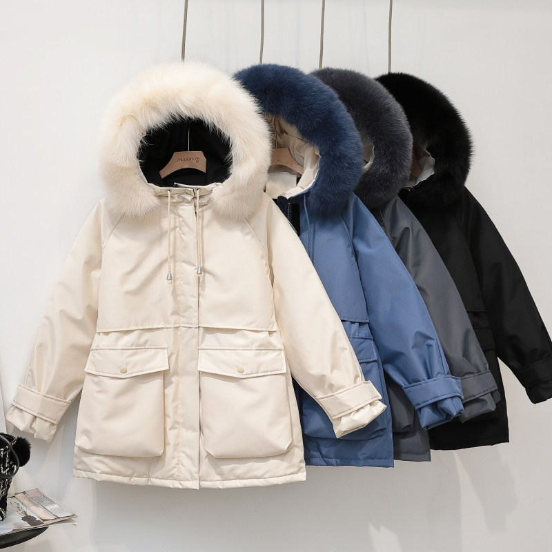 New Fashion Short Casual Genuine Fox Fur Duck   Down     Coat   Comfortable Tide   Coat   Female Women Loose Natural Warm Thick   Down   Jacket