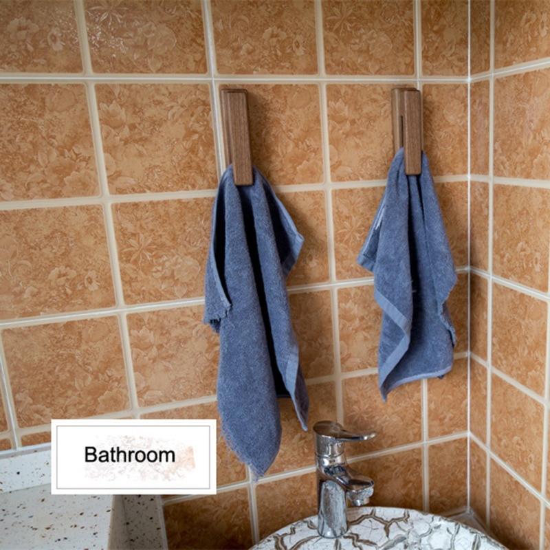 European Solid Wood Towel Hook Free Punching Towel Hook Wall Hanging Bathroom Supplies Bag Storage Rack Kitchen Accessories