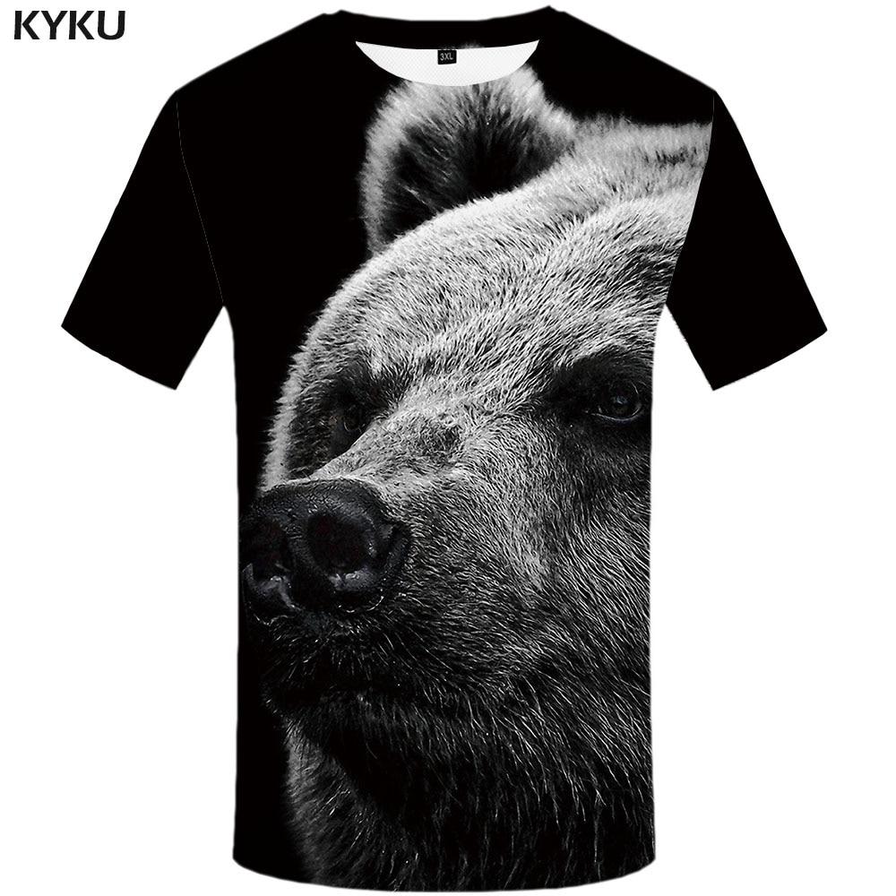 KYKU Brand Bear T Shirt Men Russia Funny T Shirts Funny Tshirts Casual Black T-shirts 3d Harajuku Shirt Print Short Sleeve