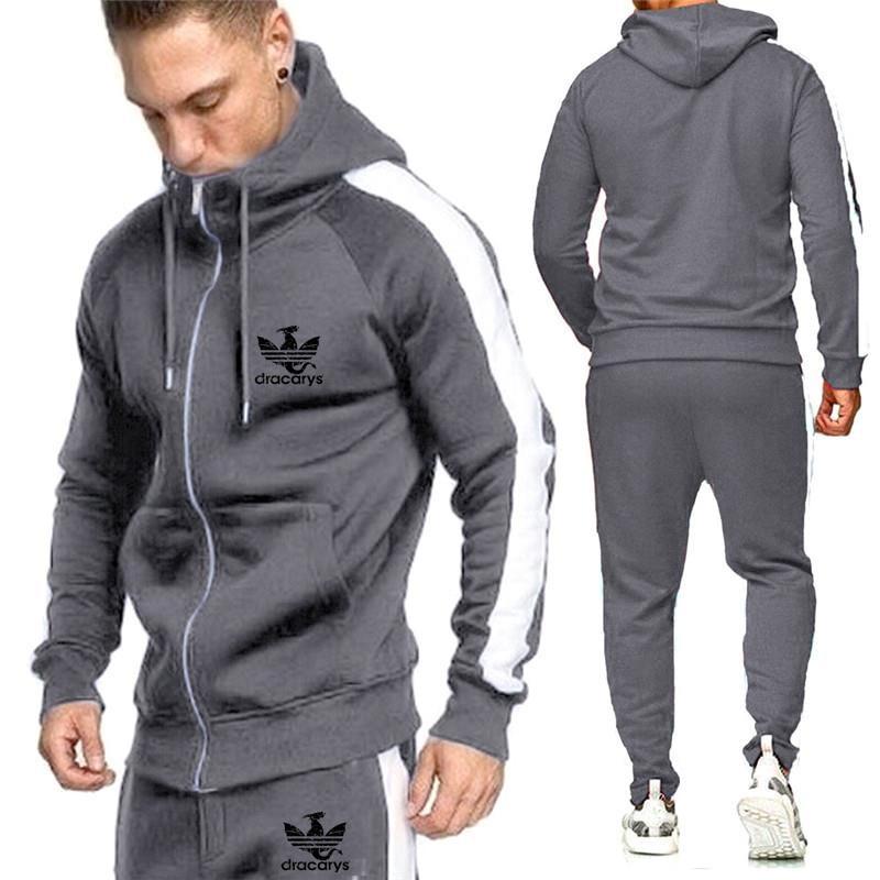 2019 New Brand Men Tracksuits Outwear Hoodies Zipper Sports Suit Sets Male Sweatshirts Cardigan Men Set Clothing Pants Plus Size