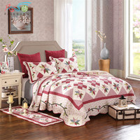Korean Plaid Bedspread Patchwork Double Cotton Quilted King Bed Cover Set Reversible Coverlet Summer Quilt Pillow Cases 3 piece