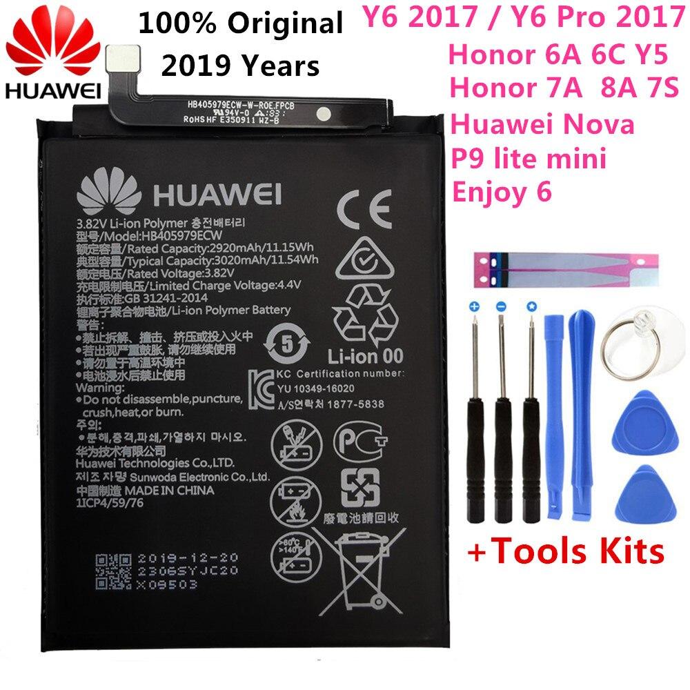 Original 3020mAh Bateria Para Huawei Nova CAZ-AL10 TL00 PODE L01 CAN-L02 HB405979ECW L12 Desfrutar 6S Honra 6C Y5 2017 p9 mini lite
