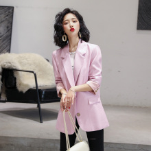 Pink Blazer for Women Single Breasted Buttons Long Sleeve Office Formal Cardigan Suit Blazer Female Coat 2020  White Jacket