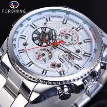 Forsining Brand New White Men Mechanical Sport Watch Automatic 3 Sub Dial Calendar Full Stainless Steel Strap Clock Reloj Hombre