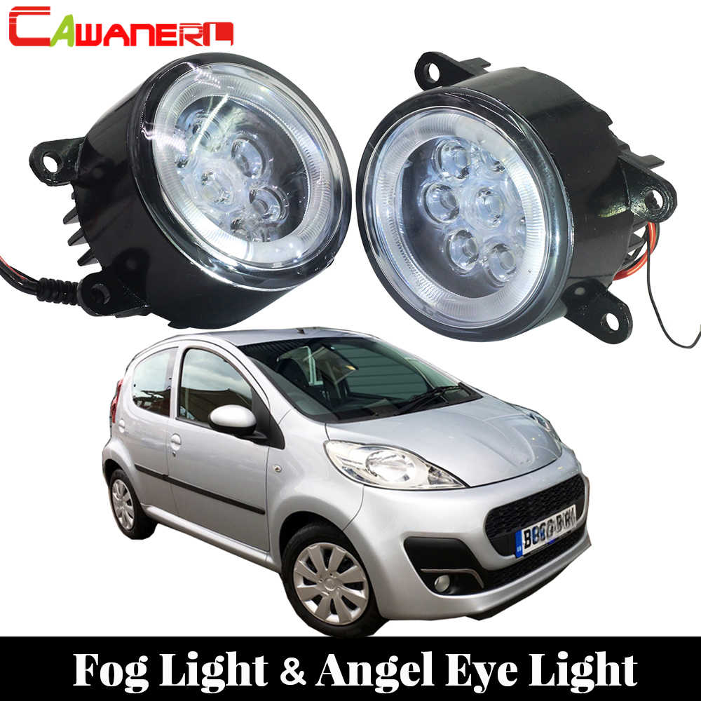 Cawanerl araba Styling LED lamba sis lambası melek göz gündüz farı DRL 12V 2 adet Peugeot 107 için hatchback 2005 sonrası