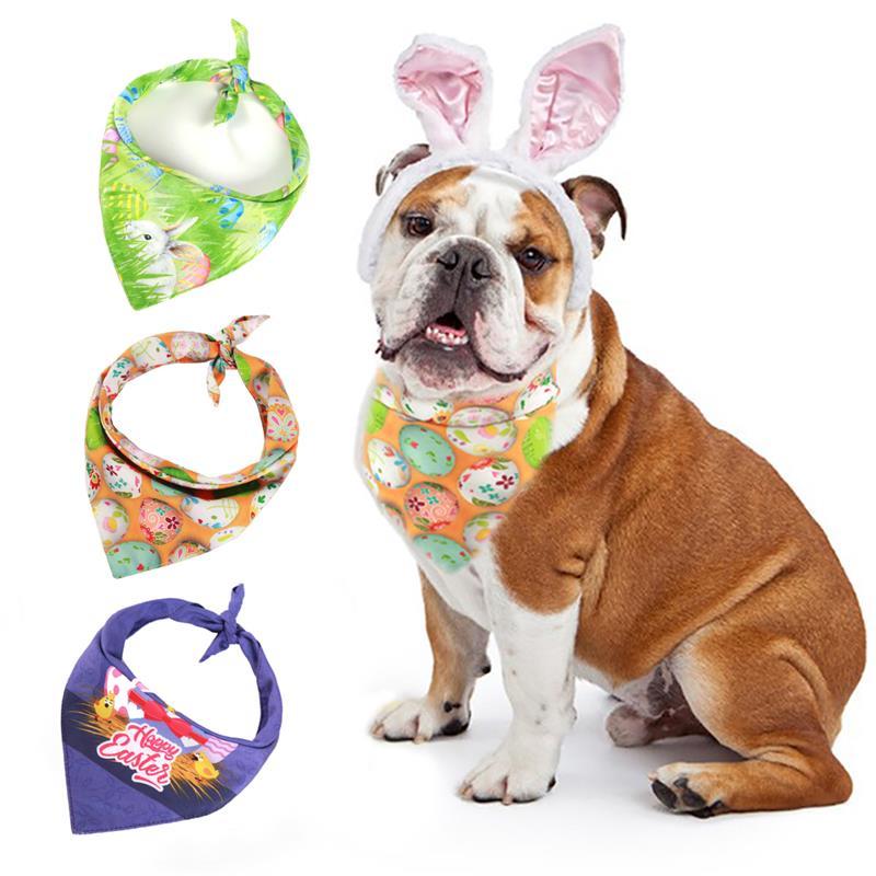 3PCS Easter font b Pet b font Bandana Fashion Cute font b Pet b font Scarf