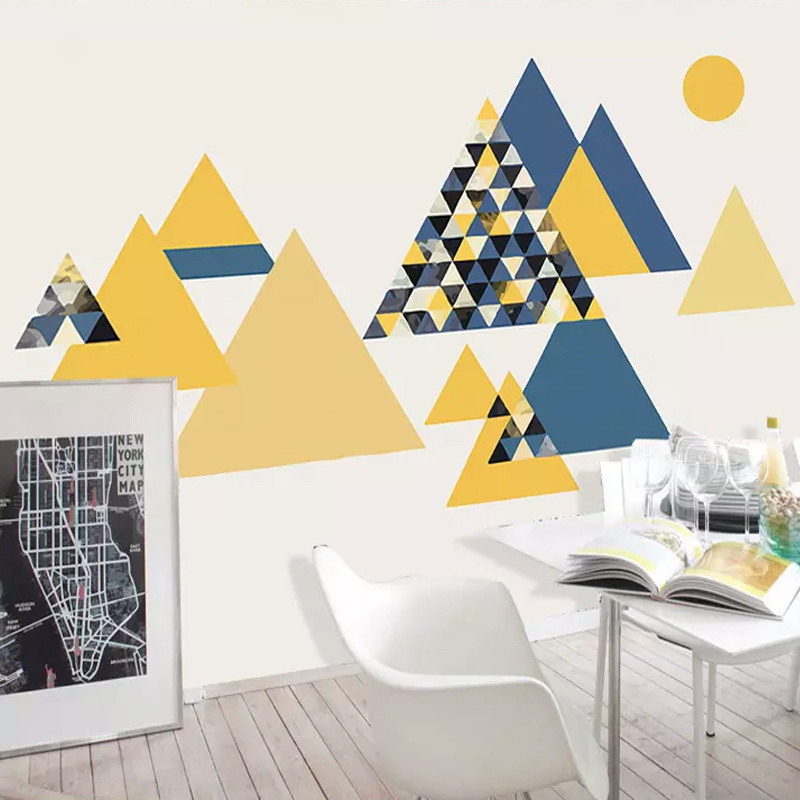 Simple Geometry Mottled Graphics Strong Wallpaper Abstract Yellow Triangular Wallpaper Living Room Television Background Wall Mu