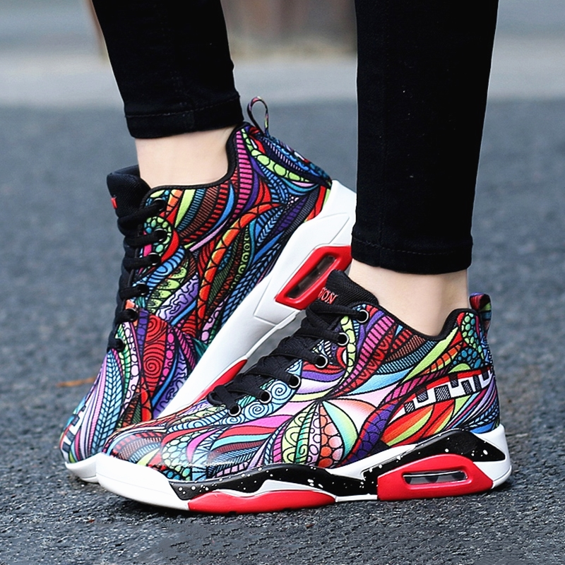Women Basketball Shoes Multicolor Oudoor Air Cushion Sport Trainers Comfortable Lovers Shoes Mid-top Sneakers Large Size 35-46