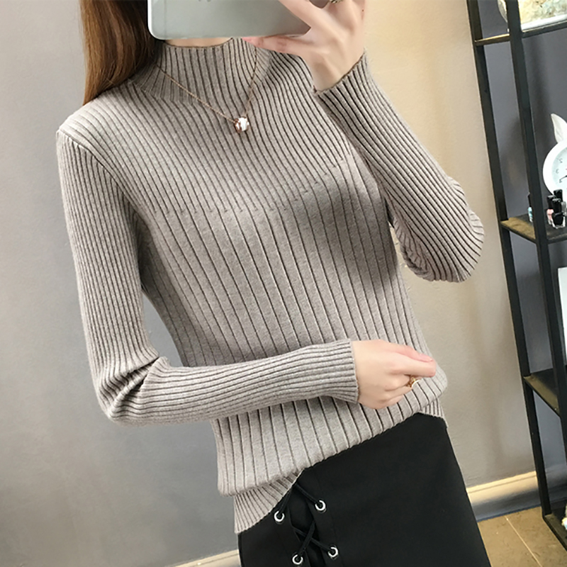 Turtleneck Long Sleeve Women Sweater Slim Stripe Knitted High Elastic Solid 2020 New Fall Winter Fashion Sweater Women Pullovers