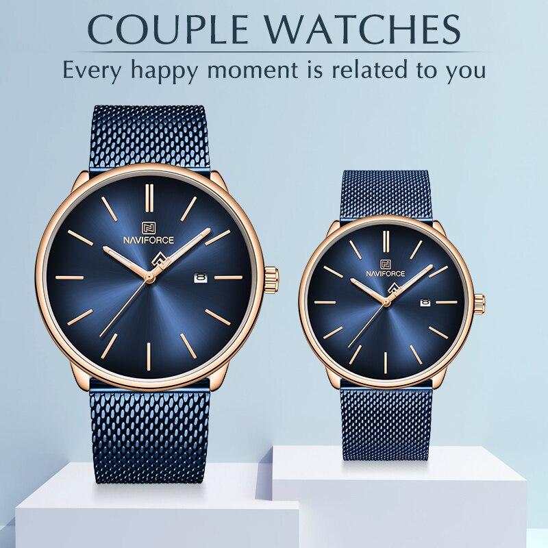 Couple montres NAVIFORCE Top marque en acier Quartz montre-bracelet pour hommes et femmes étanche Date mâle horloge cadeau Relogio Feminino