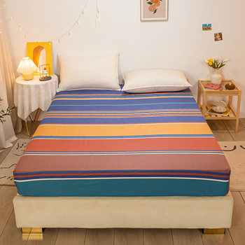 Pure Cotton Fitted Solid And Durable Bedding Sheet Singleton Antislip Fixed Bedspread Mattress Cover Dustproof Protect image
